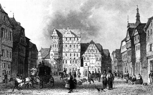 Los alrededores de la escena del crimen. Plaza del Mercado de Giessen (1840) | Imagen: Wikimedia Commons